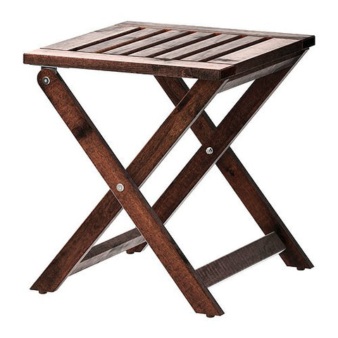 00204926 - APPLARO Stool, outdoor, brown foldable brown stained