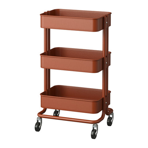 40331767 RÅSKOG Trolley, red/brown, 35x45x78 cm