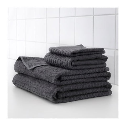 20353623 - VAGSJON Washcloth, dark grey, 30x30 cm /4 pieces