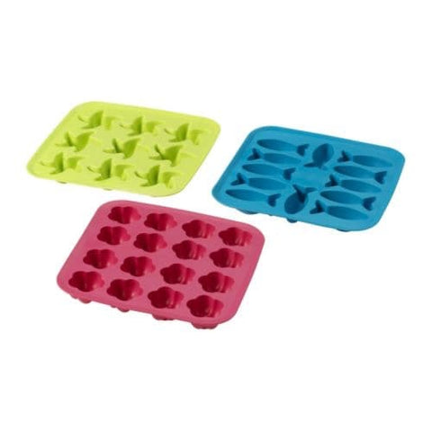 80149554 - PLASTIS Ice cube tray, green/pink, turquoise