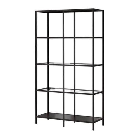 80213314 - VITTSJO Shelving unit, black-brown, glass, 100x175 cm