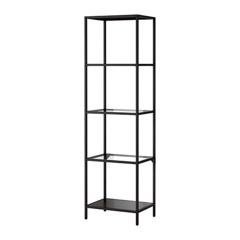30214679 VITTSJO Shelving unit, black-brown, glass, 51x175 cm