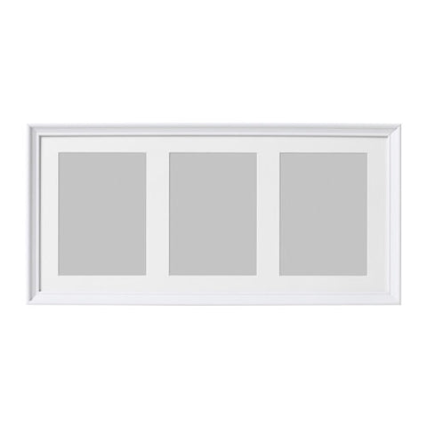 10297449 KNOPPANG Frame for 3 pictures, white stained, 50x23 cm