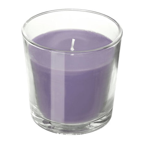 60337400 - SINNLIG Scented candle in glass, Blackberry, lilac, 7.5 cm