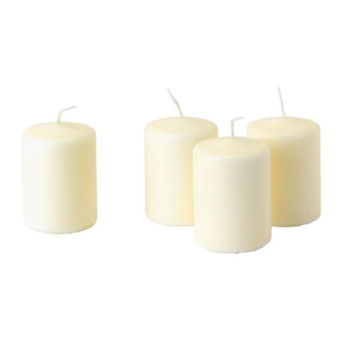 00176117 -  HEMSJO Unscented block candle, natural, 8 cm 4 pcs
