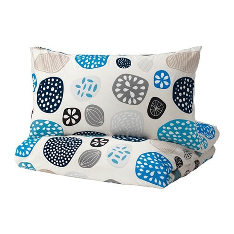 20304307 - RINGKRAGE Quilt cover and 4 pillowcases, blue white, multicolour