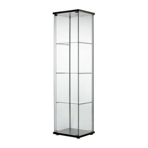 40354042 - DETOLF Glass-door cabinet, black-brown, 43x163 cm
