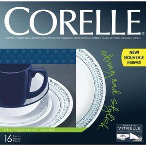 Corelle 1109599  Folk Stitch 16-Piece Vitrelle Dinnerware Set