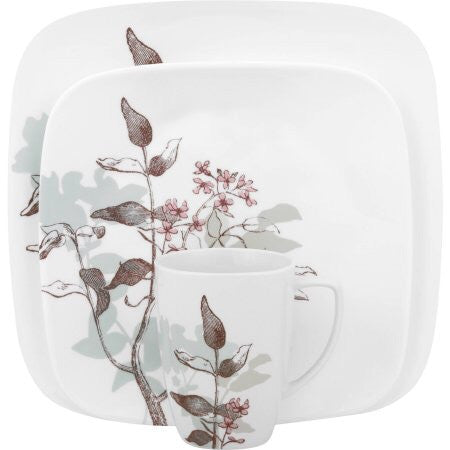 Corelle 1088188 Squares Twilight Grove 16-Piece Dinnerware Set