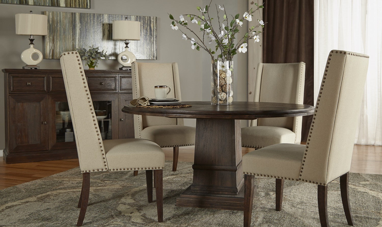 """dining chairs tagged """"natural fabric w/ rustic java finish"""