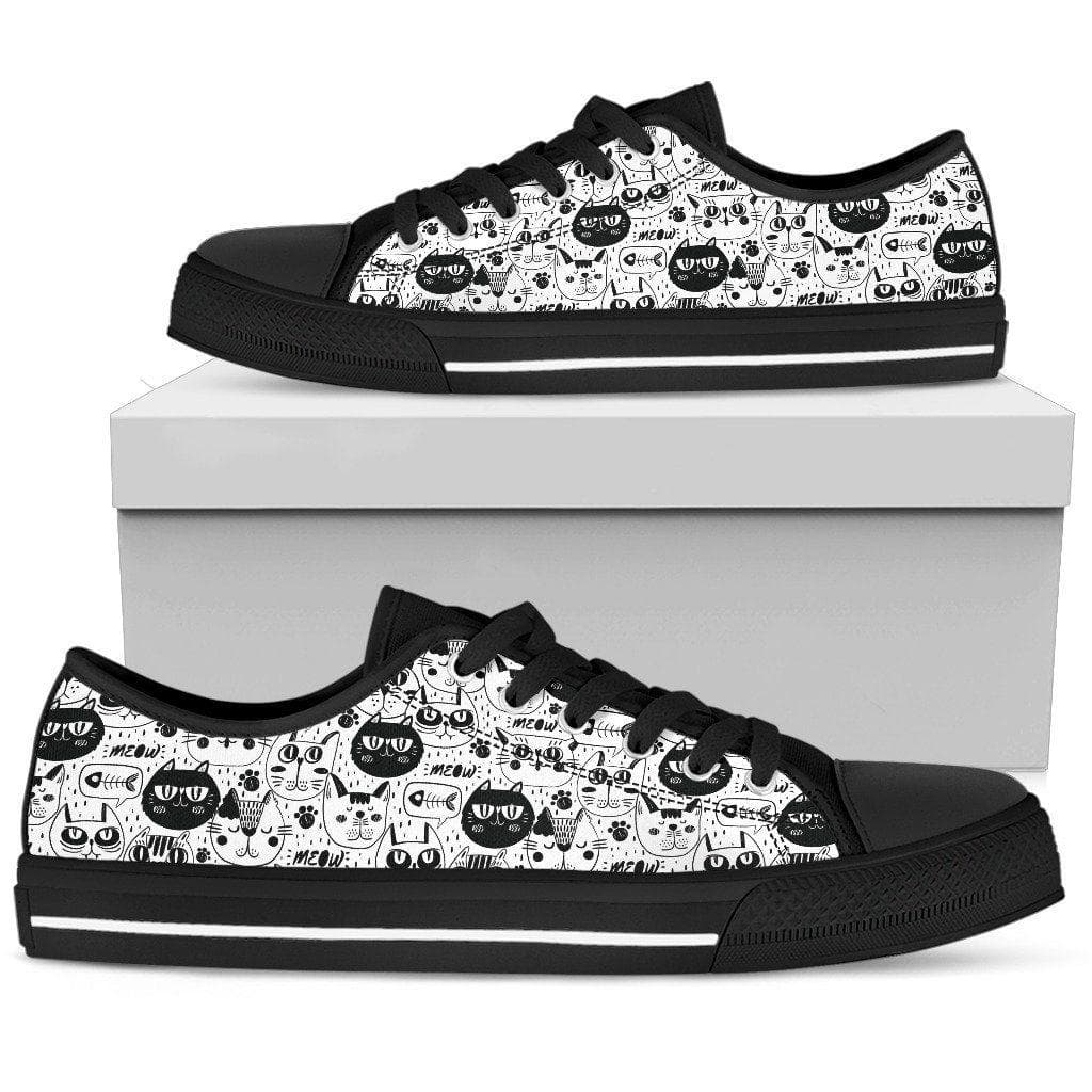 Black And White Cat Pattern Women Canvas Shoes DHL Express Shipping