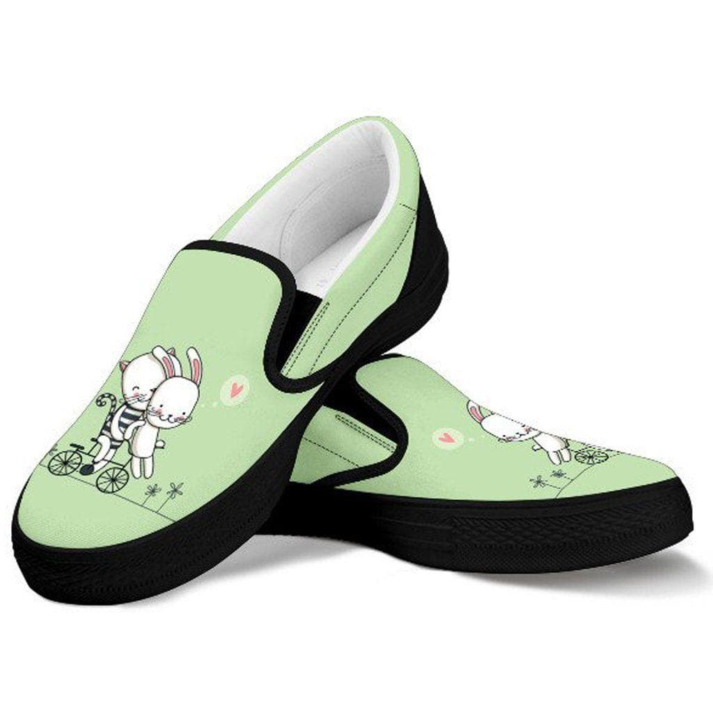 Funny Cat And The White Rabbit Women Slip On Shoes Boundless Shop