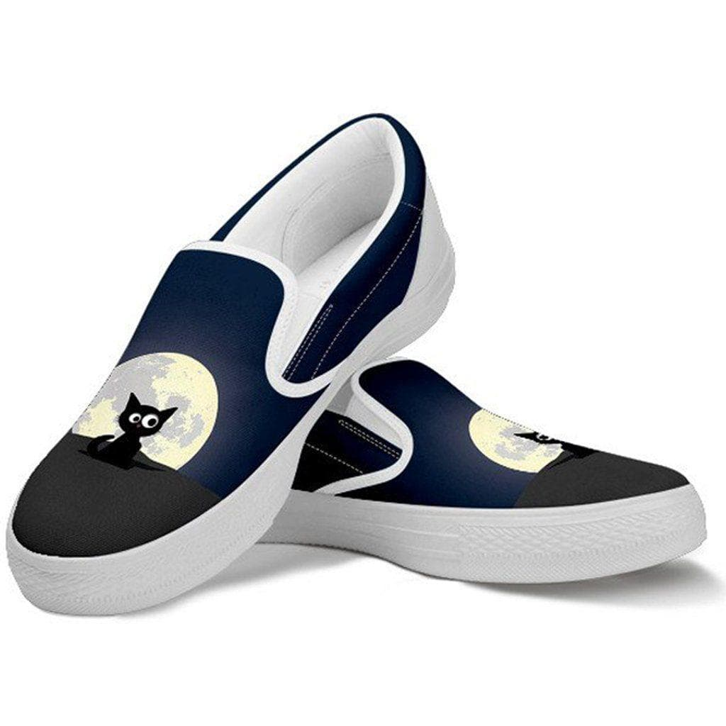 Funny Black Cat And The Moon Women Slip On Shoes Boundless Shop
