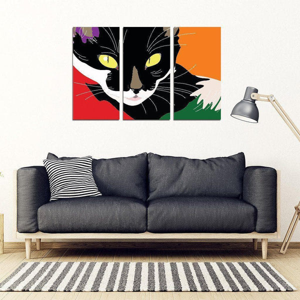Black Cat And Color Abstract Framed Wall Art DHL Express Shipping