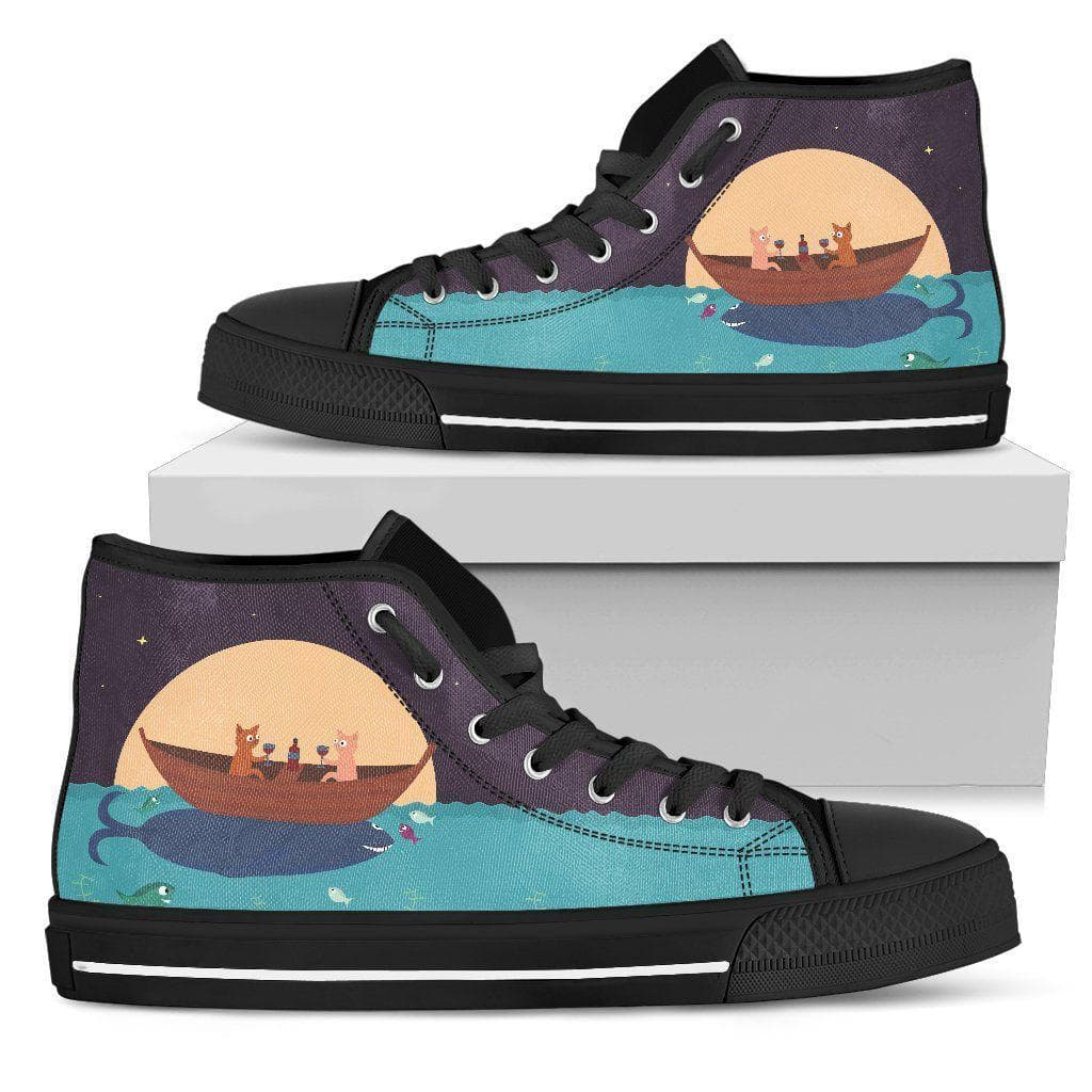 Cats In A Boat Women Canvas Shoes