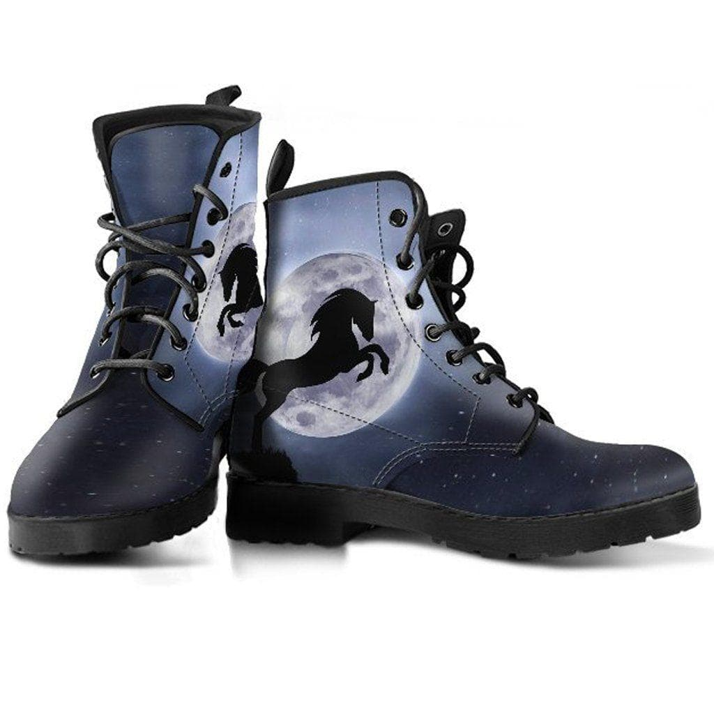 Women Moon And Rearing Black Horse Boots lcK1FJT3
