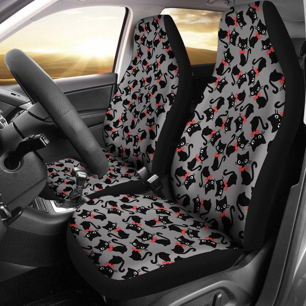 Black Cats With Red Polka Dot Bow Tie Pattern Car Seat Covers