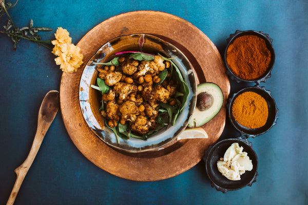 Roasted Cauliflower and Chickpeas in Ethiopian Spices