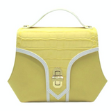 Trapezio leather bag yellow by Maria cardelli