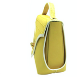Trapezio bag yellow leather by Maria Cardelli - Side view