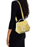 Trapezio be yellow leather Medium size by Maria Cardelli