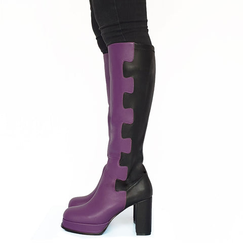 Puzzle knee high boots - size 37
