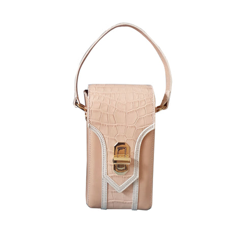 Pink vertical bag croc camera bag by Maria Cardelli