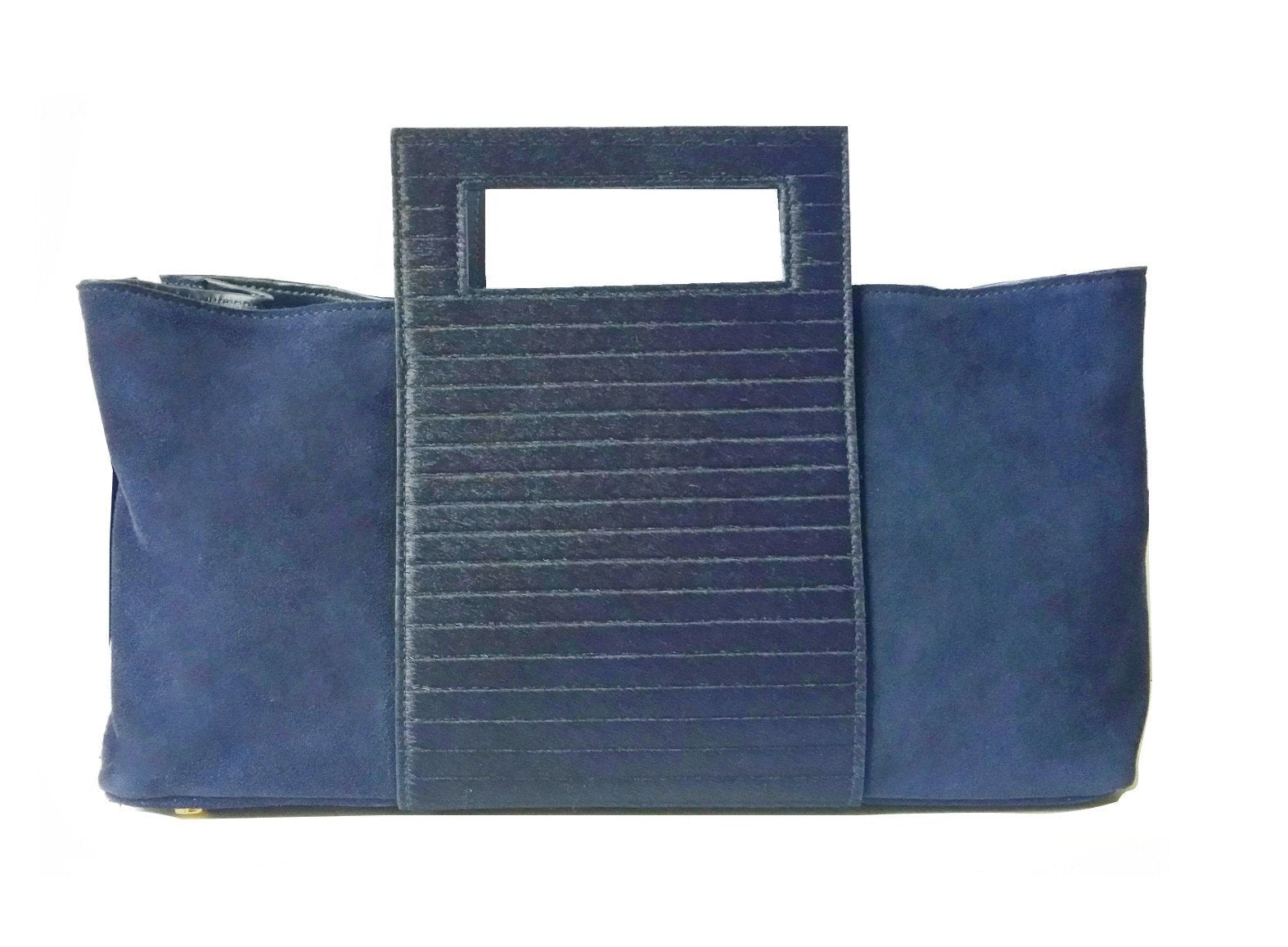 Zip It Calf Hair Navy - Maria Cardelli Fashion Accessories