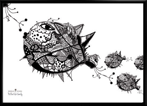 Doodle By Schou - Pufferfish Family