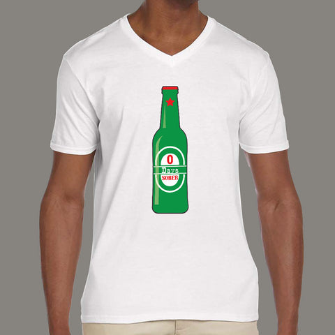 0 Days Sober Funny V Neck T-Shirts For Men online india