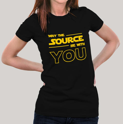 May The Source Be With You! Linux/Starwars Women's T-shirt