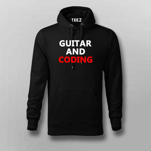Playing guitar and coding Hoodies For Men