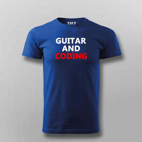 Playing guitar and coding t-shirt for men india