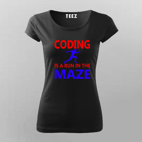Coding is A Run in The Maze Funny Coding T-Shirt For Women Online India