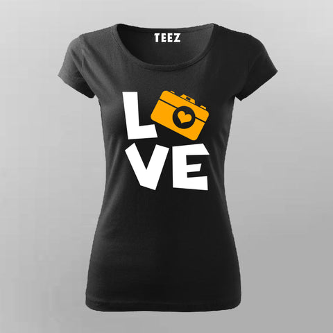 I Love Camera T-Shirt For Women Online India