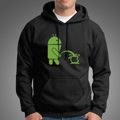 Android Peeing on Apple Men's Hoodie India