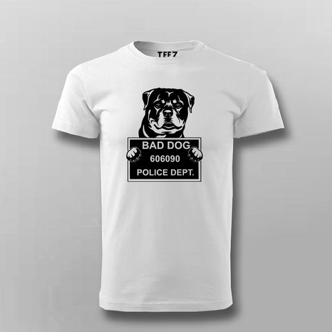 Bad Criminal Rottweiler Dog Police Station Mugshot T-Shirt For Men Online India