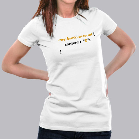 Funny CSS Money Pun Web Designer Coding T-Shirt For Women