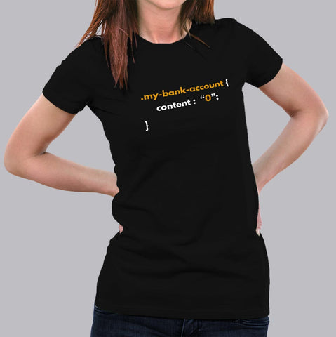Funny CSS Money Pun Web Designer Coding T-Shirt For Women Online India