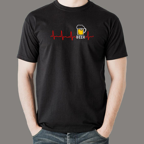 Beer Heartbeat T-Shirt For Men Online India