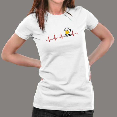 Beer Heartbeat T-Shirt For Women Online India