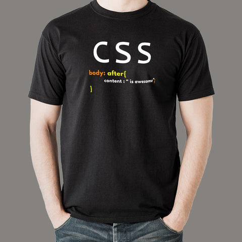 CSS Is Awesome Funny Geek Developer T-Shirt For Men Online India
