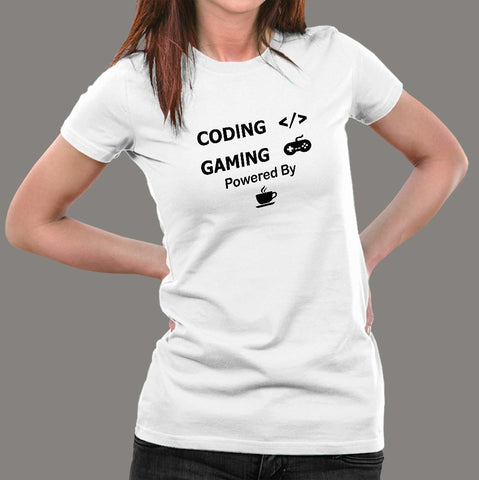 Coding And Gaming Powered By Coffee Programming T-Shirt For Women