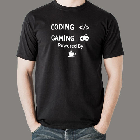 Coding And Gaming Powered By Coffee Programming T-Shirt For Men India