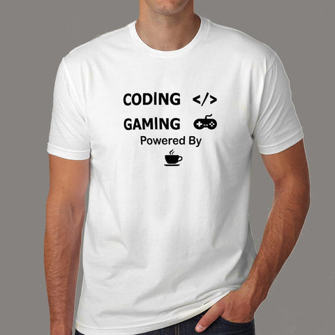 Coding And Gaming Powered By Coffee Programming T-Shirt For Men Online India