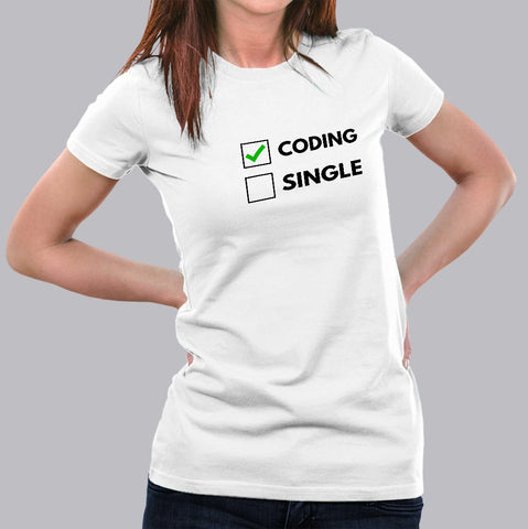 Funny Coding Relationship Status Pun Code Programmer T-Shirt For Women India