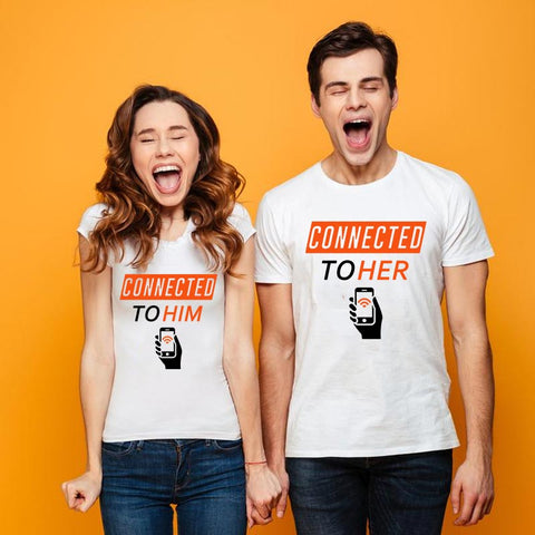Connected To Him Connected To Her Matching Couple T-Shirts Online India