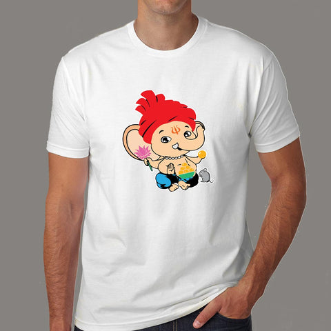 Cute Bal Ganesh Ganapathy Baby Hindu God T-Shirt For Men online india