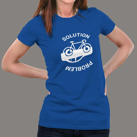 Solution for pollution Bicycling Women's T-Shirt online india