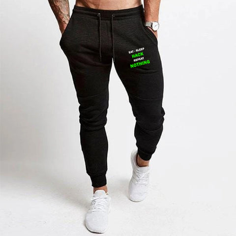 Eat Sleep Hack Repeat Nothing Funny Programmer Printed Joggers For Men